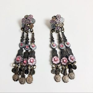 Vintage Flower Floral bouquet dangle earrings